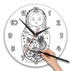 Круглые часы-раскраска Матрешка