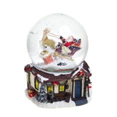 Новогодний музыкальный сувенир Шар - Дед Мороз на санях