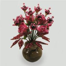 Цветы из граната Шива в вазочке из оникса