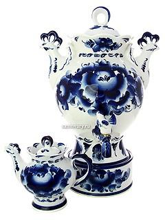 Набор; самовар на 3 литра с росписью Гжель и чайник