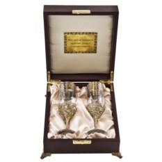 Бокалы для шампанского в деревянном ларце Узор Версаче