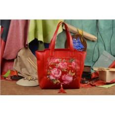 Красная сумка-шопер Розовое поле Elole Design