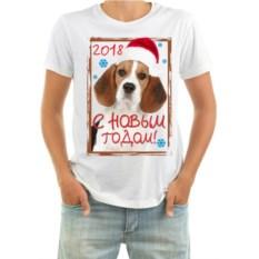 Мужская футболка с собачкой в колпачке С новым годом
