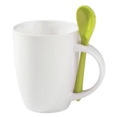 Белая кружка с зеленой ложкой