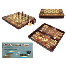 Коричневый набор настольных игр 3 в 1: шахматы, нарды, шашки
