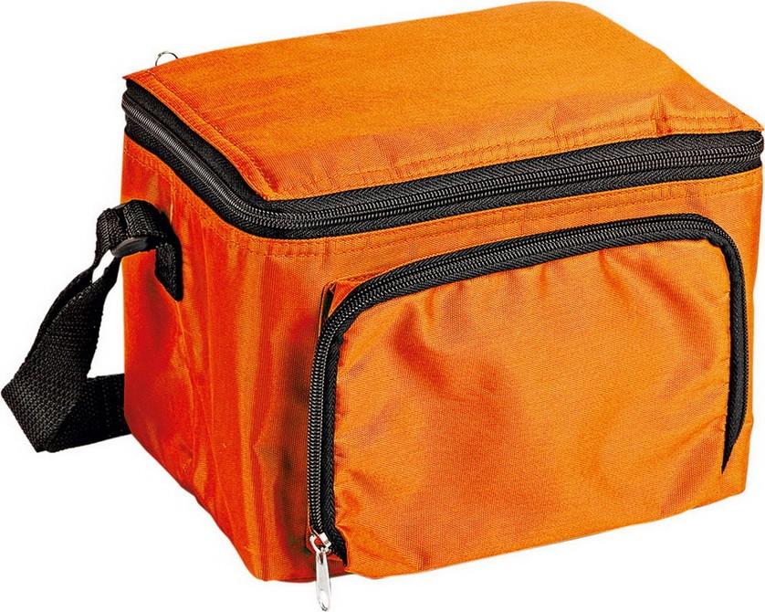 Сумка холодильник на 3 л с отделением на молнии, оранжевая