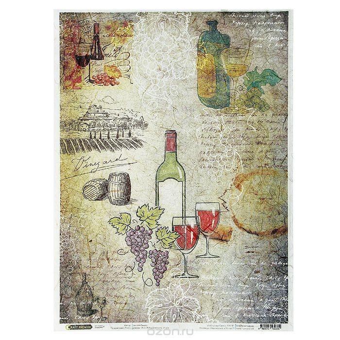 Рисовая бумага для декупажа Craft Premier Карта вин