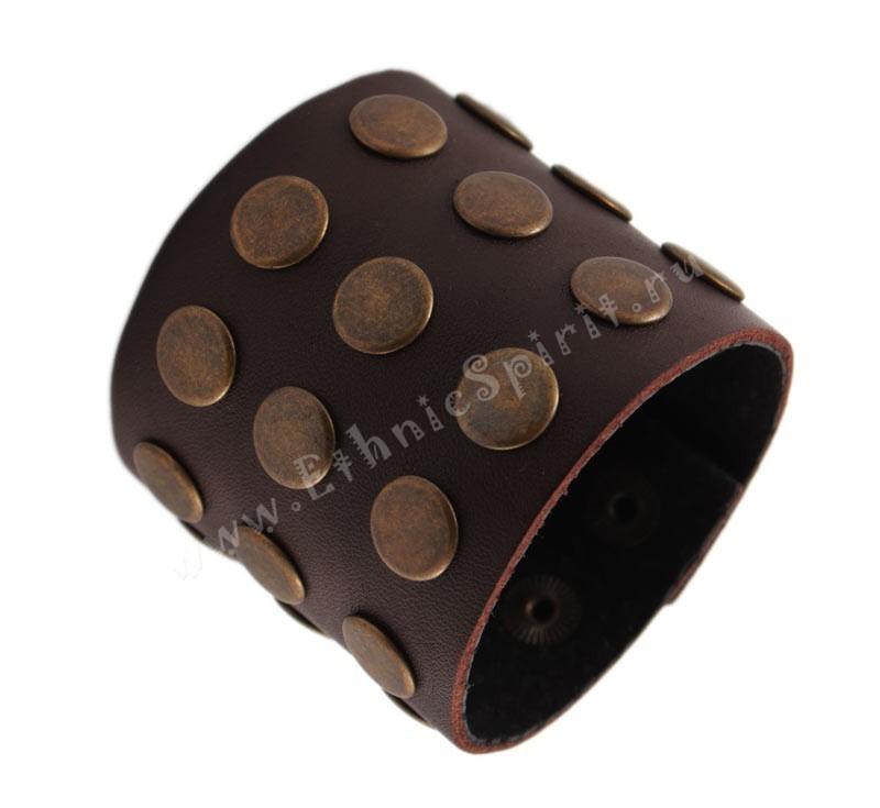 Широкий темно-коричневый кожаный браслет в стиле Casual