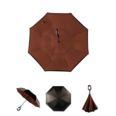 Ветрозащитный зонт-наоборот Up Brella шоколадного цвета