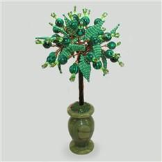 Дерево силы из малахита в вазочке из оникса