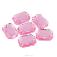 Пришивные стразы Астра, акриловые, прямоугольные, цвет: светло-розовый, 6 шт.
