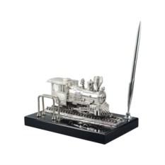 Сувенирный паровоз на подставке с ручкой