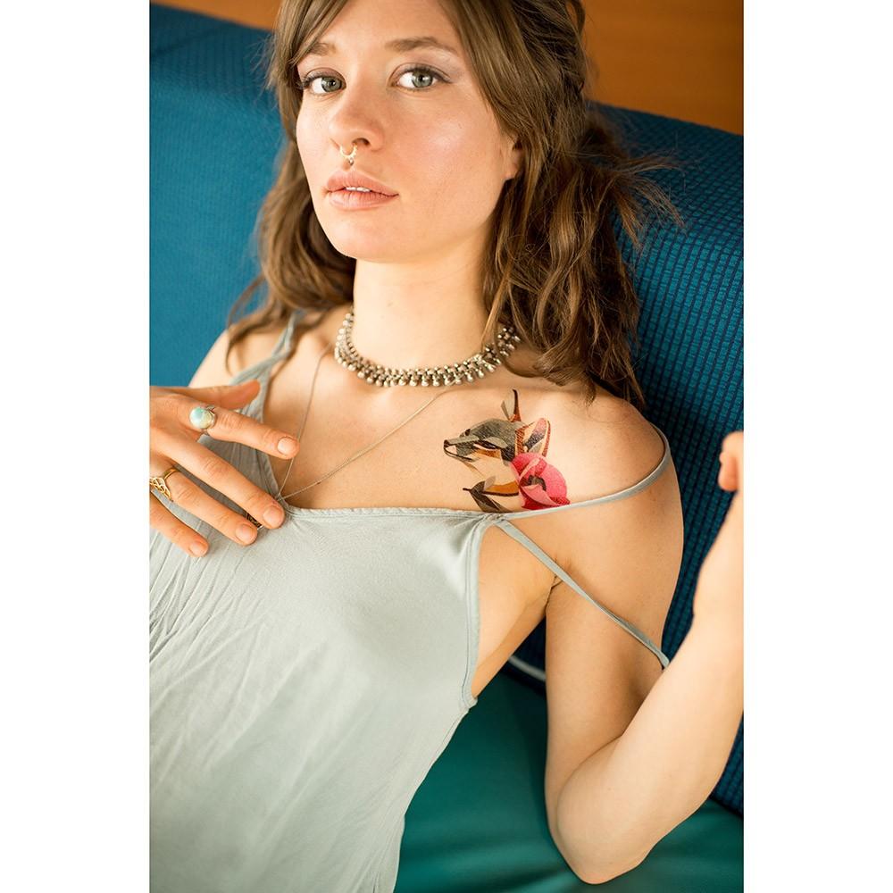 Переводная татуировка от Sasha Unisex Grey Fox