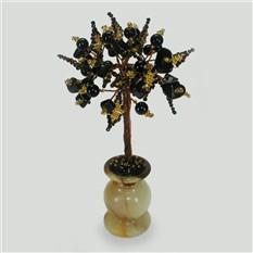Дерево любви из черного агата в вазочке из оникса
