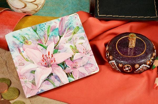 Портмоне из натуральной кожи Розовый цветок Elole Design
