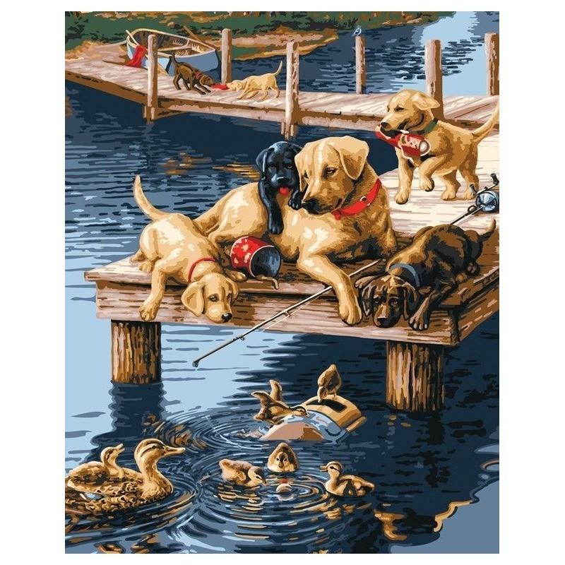 Картина-раскраска по номерам на холсте На мостике
