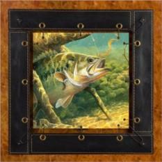 Картина из кожи Рыбалка