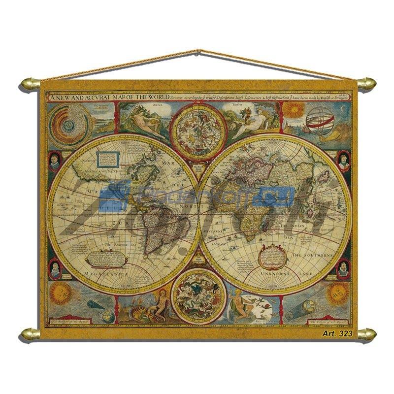 Большое панно (репродукция старинной карты)