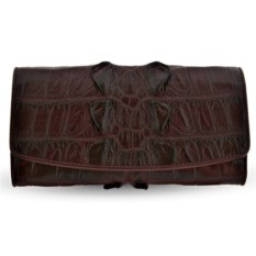 Коричневый кошелек из крокодиловой кожи с яркой фактурой