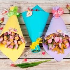 Букет конфет Тюльпаны (цвет: голубой)