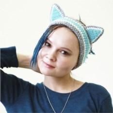 Вязаная повязка на голову Чеширский кот