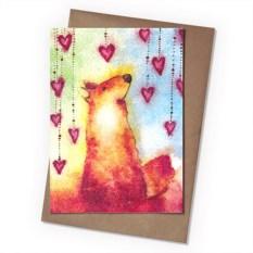 Поздравительная открытка Лис с сердечками