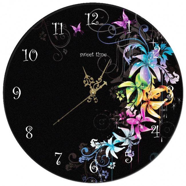 Часы «Цветы на чёрном»