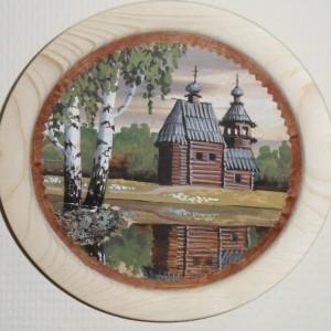Объёмная картина на бересте Летняя церковь и две березы