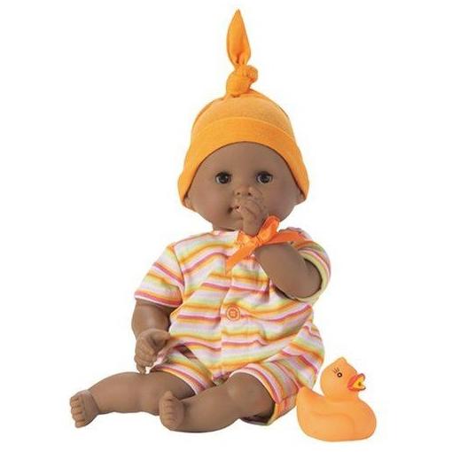 Тиду в оранжевом чепчике и полосатом костюмчике