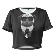 Женская укороченная 3D-футболка Мопс в черном