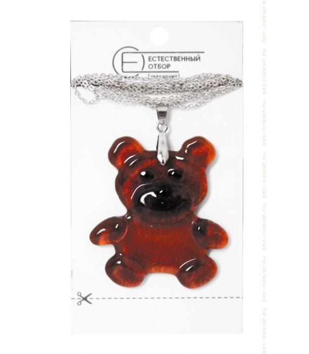 Кулон из коричневого стекла Медведь