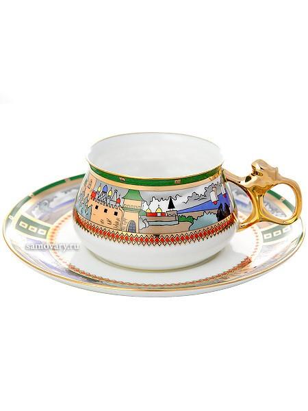 Фарфоровая чайная чашка с блюдцем Деревня на озере