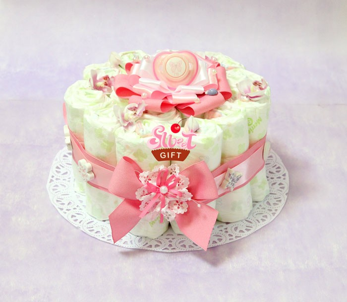 Торт из памперсов для девочки своими руками одноярусный 90