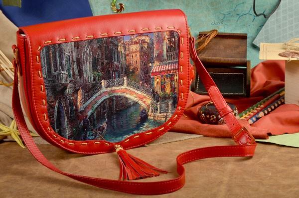 Женская сумка-седло Живописный городок