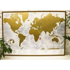Скретч-карта мира в деревянной рамке TrueMap Adventure