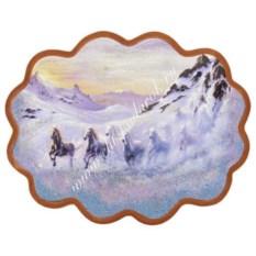 Панно из каменной крошки на репродукции Снежный табун