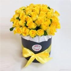 Букет из 51 желтой розы в шляпной коробке