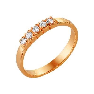 Позолоченное кольцо со вставкой из 5 фианитов