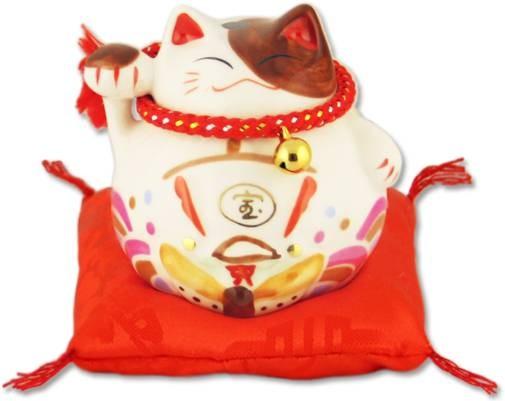 Белый японский кот-копилка Манеки-неко Благополучие!