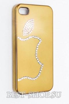 Чехол с яблоком Apple из кристаллов для iPhone 4/4S