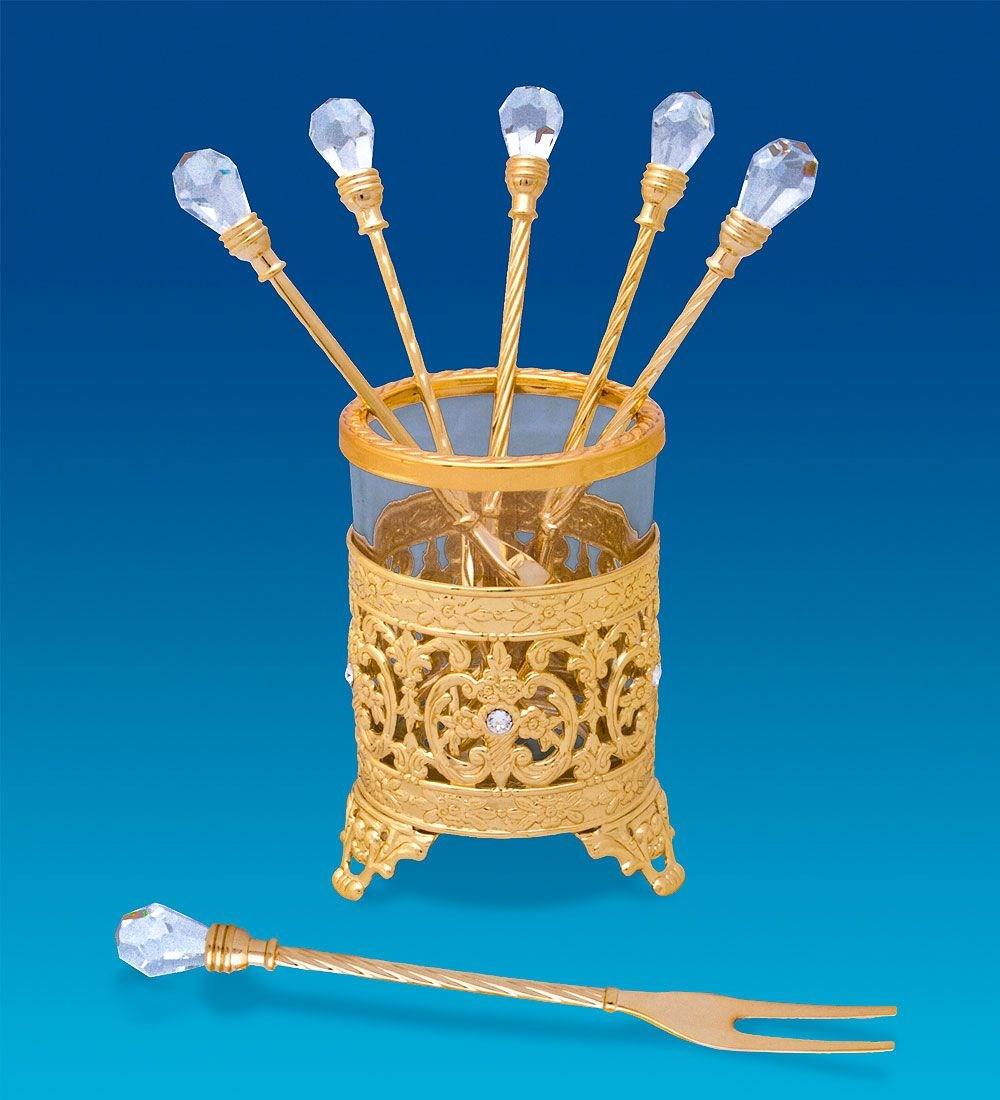 Позолоченный набор десертных вилочек с кристаллами Swarovski