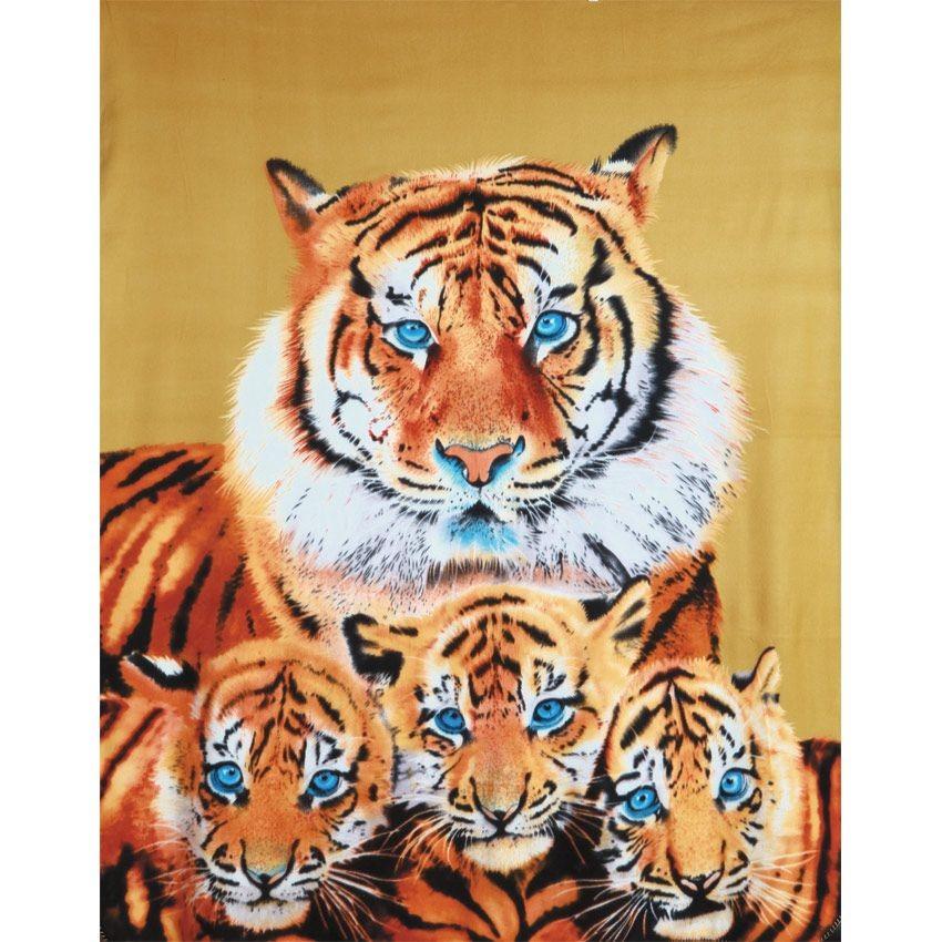 Плед флисовый Семья тигров