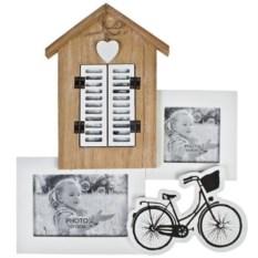 Бело-бежевая рамка для 3-х фото Окошко со ставнями
