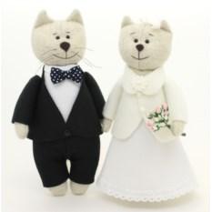 Свадебные котики ручной работы Золотая свадьба