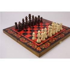 Набор игр шахматы, нарды и шашки с доской Красная хохлома
