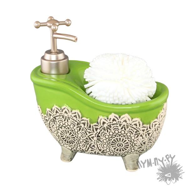 Диспенсер для мыла с губкой Зеленая ванна