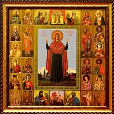 Икона Богородицы с образами Святых Нерушимая стена