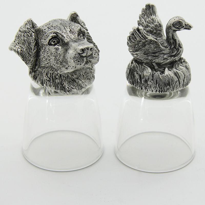 Рюмки-перевертыши с головами животных Собака и гусь
