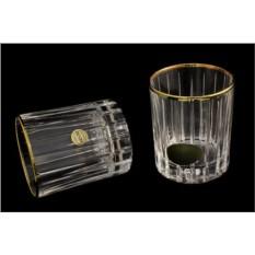 Подарочный хрустальный набор из 6 стопок для водки Pisa Gold