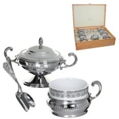 Чайный сервиз Царский выбор, серебро, на 6 персон